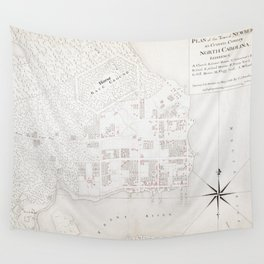 Vintage Map of New Bern NC (1769) Wall Tapestry