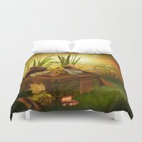 thanksgiving Duvet Covers featuring Thanksgiving Present by FantasyArtDesigns