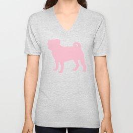 Pastel Pink Pugs Pattern Unisex V-Neck
