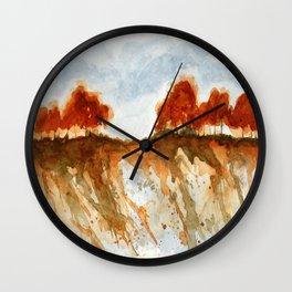 Firebranch Ridge, Watercolor Abstract Landscape Art Wall Clock