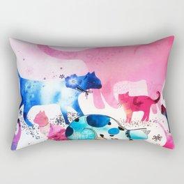 Cat Party House Glitter Art Pink Watercolor Rectangular Pillow
