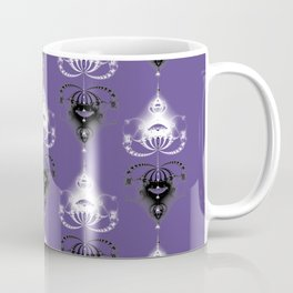 Ornament medallions - Black and white fractals on ultra violet Coffee Mug