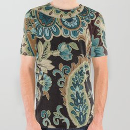 Brown Turquoise Paisley All Over Graphic Tee