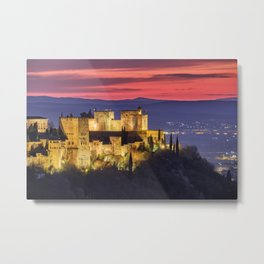 The Alhambra Palace, Red sunset. Winter Metal Print