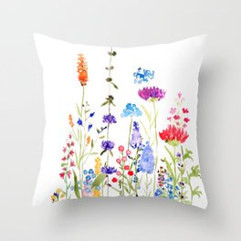 colorful wild flowers watercolor painting Throw Pillow