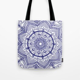 Blue Flower Mandala Tote Bag