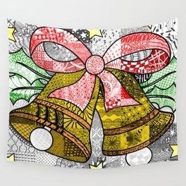 Coloured Christmas Bells Wall Tapestry