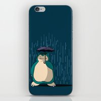 snorlax iPhone & iPod Skins featuring My Neighbor Snorlax by EnoLa