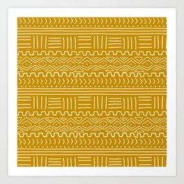 Mud Cloth on Mustard Art Print