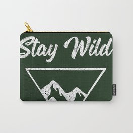 stay wild typography mountain print Carry-All Pouch