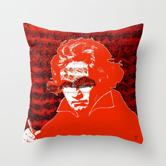 Ludwig van Beethoven · red10 Throw Pillow