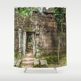 Angkor Thom Palace Wall, Siem Reap, Cambodia Shower Curtain