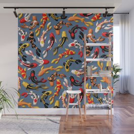 Pattern of colorful Japanese koi fish before simple dark blue background Wall Mural