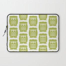 Mid Century Owl Pattern Chartreuse Laptop Sleeve