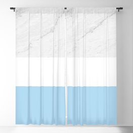 Marble White Light Blue Blackout Curtain
