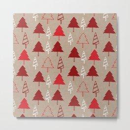Christmas Tree Red and Brown Metal Print