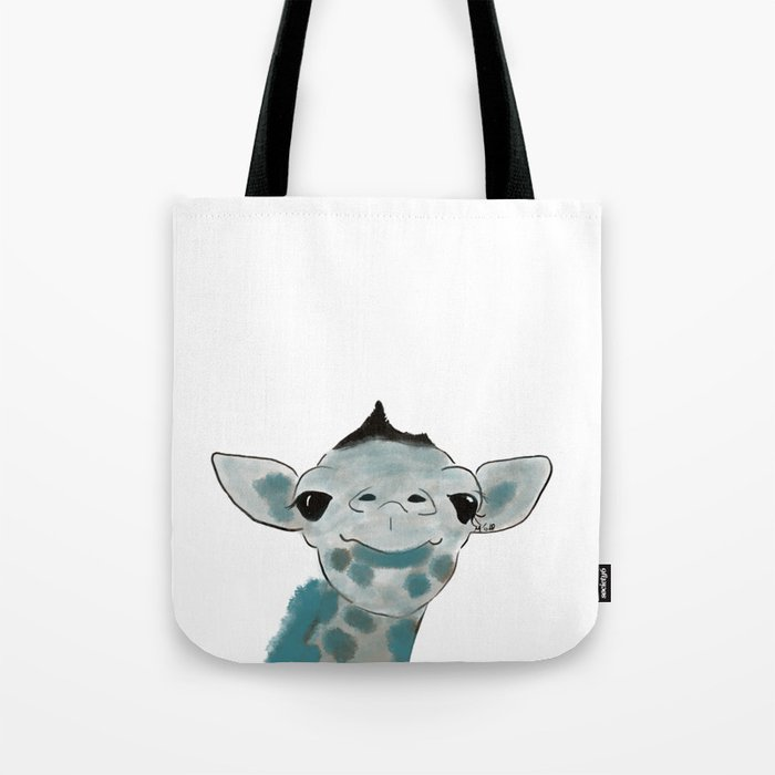 Happy Baby Giraffe // Giraffe In Watercolor Blue and Gray Tote Bag