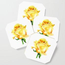 Single Yellow Rose Watercolour Painting Coaster