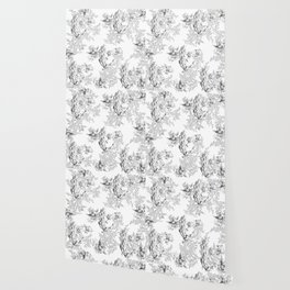 PEACOCK LILY TREE AND LEAF TOILE GRAY AND WHITE PATTERN Wallpaper