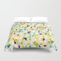 sparkles Duvet Covers featuring Yellow Sparkles by Shuuichi