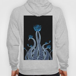 Octopus with Blue Lotus Flower Floral Print Hoody