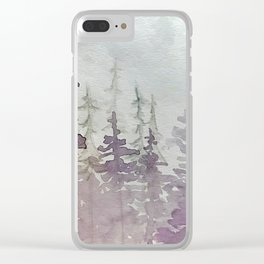 Purple Foggy Trees Clear iPhone Case