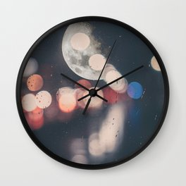 Moon Abstract Lights with Bokeh Graphic Design Photography Wall Clock
