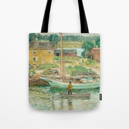 Oyster Sloop, Cos Cob 1902 by Childe Hassam Tote Bag
