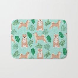Shiba Inu summer monstera tropical pure breed dog gifts Bath Mat