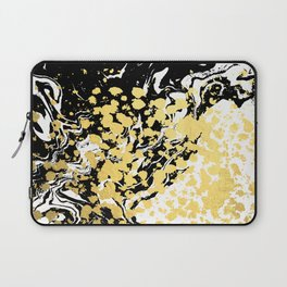Sukie - abstract gold black and white foil glitter shiny sparkle hipster painting free spirit cosmic Laptop Sleeve