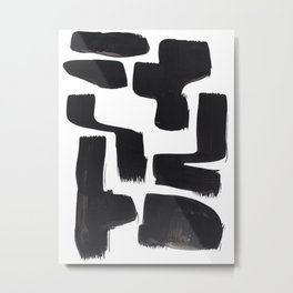 Black And White Minimalist Mid Century Abstract Ink Art Abnormal Organic Shapes Tribal Metal Print