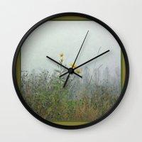 battlefield Wall Clocks featuring Yellow Wild Flowers, Agincourt Battlefield by Susan in Paris
