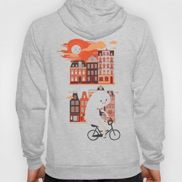 Happy Ghost Biking Through Amsterdam Hoody