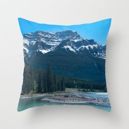 Rocky Riverbed - Athabasca River Throw Pillow