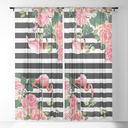 tropical flamingo Sheer Curtain