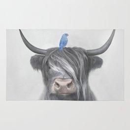 Scottish Cow & Blue Bird Rug