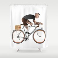 taxi driver Shower Curtains featuring Bike Driver by The Art Warriors