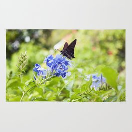 Butterfly on a Purple Flower Photography Print Rug