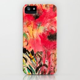 Abstract Poppy Watercolor iPhone Case