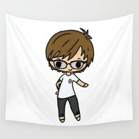 louis Wall Tapestries featuring Glasses Louis by clevernessofyou
