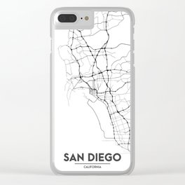 Minimal City Maps - Map Of San Diego, California, United States Clear iPhone Case