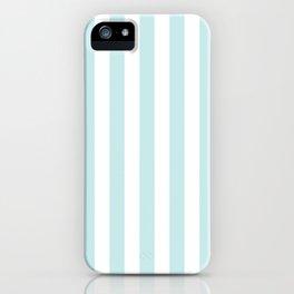 Duck Egg Pale Aqua Blue and White Wide Vertical Beach Hut Stripe iPhone Case