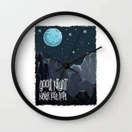 Good Night, Never lose hope. 80's Pixel game graphics Wall Clock
