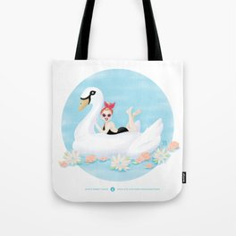 Summer Pool Party - White Swan Float C Tote Bag