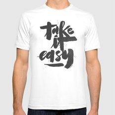 TAKE IT EASY Mens Fitted Tee White MEDIUM