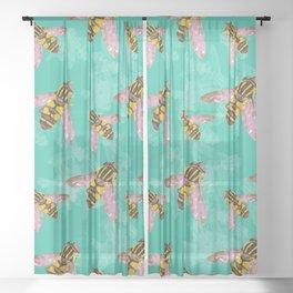 Hoverfly vector illustration Sheer Curtain