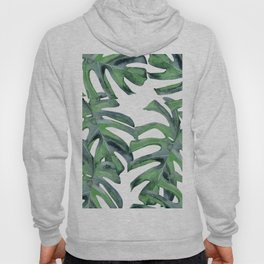 Tropical Palm Leaves Green on White Hoody