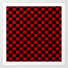Checkers - Black and Red Art Print