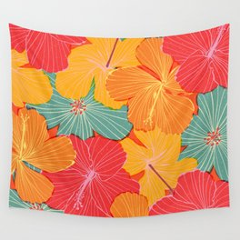 Tropical Hibiscus Wall Tapestry