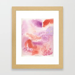 Herb Song in Lavender with Mugwort Contemporary Abstract Watercolor Painting Framed Art Print